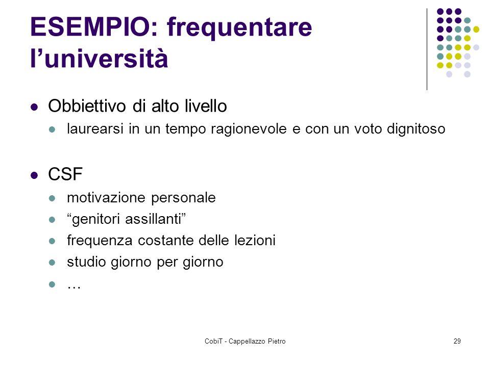 CobiT - Cappellazzo Pietro29 ESEMPIO: frequentare luniversità Obbiettivo di alto livello laurearsi in un tempo ragionevole e con un voto dignitoso CSF