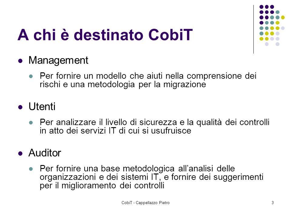 CobiT - Cappellazzo Pietro3 A chi è destinato CobiT Management Per fornire un modello che aiuti nella comprensione dei rischi e una metodologia per la