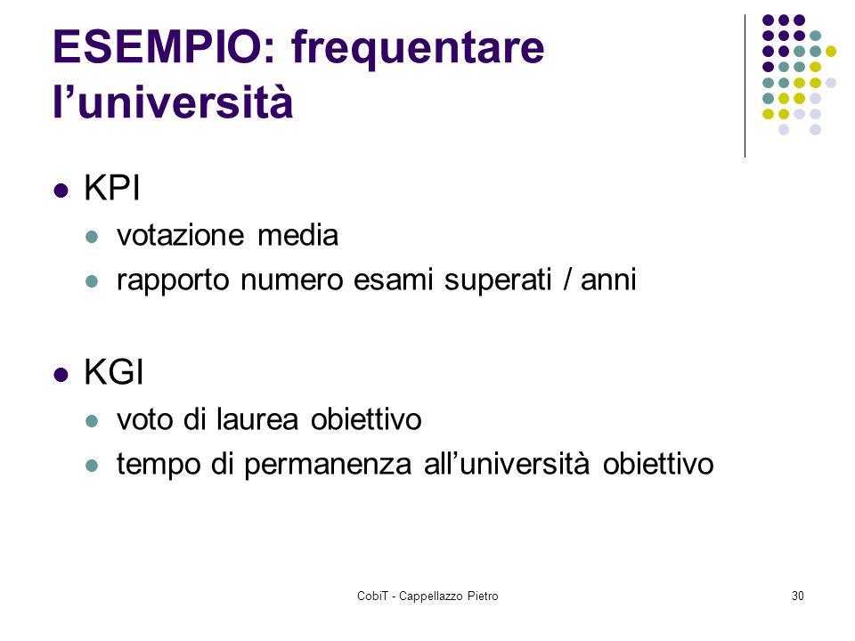 CobiT - Cappellazzo Pietro30 ESEMPIO: frequentare luniversità KPI votazione media rapporto numero esami superati / anni KGI voto di laurea obiettivo t