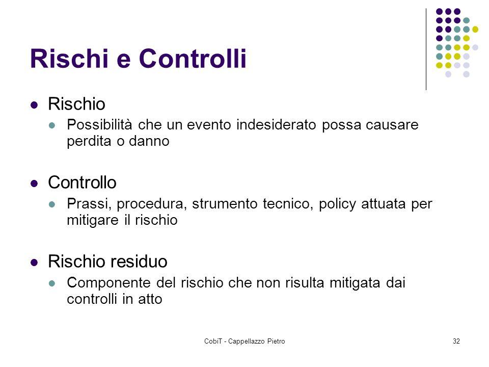 CobiT - Cappellazzo Pietro32 Rischi e Controlli Rischio Possibilità che un evento indesiderato possa causare perdita o danno Controllo Prassi, procedu