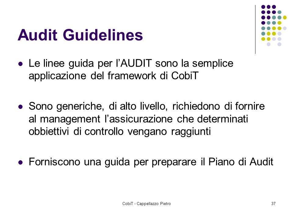 CobiT - Cappellazzo Pietro37 Audit Guidelines Le linee guida per lAUDIT sono la semplice applicazione del framework di CobiT Sono generiche, di alto l