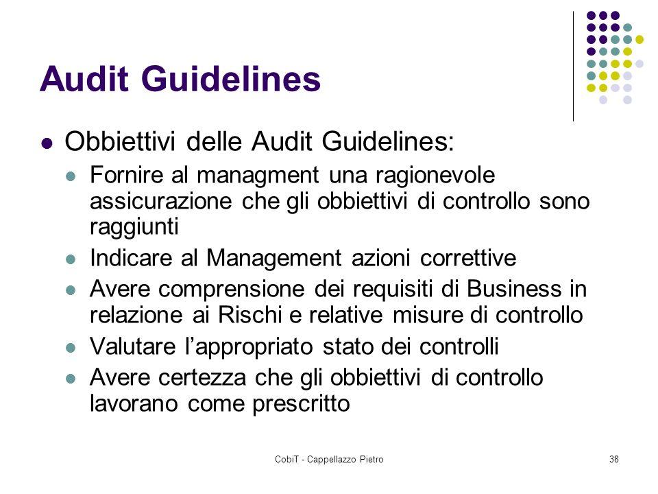 CobiT - Cappellazzo Pietro38 Audit Guidelines Obbiettivi delle Audit Guidelines: Fornire al managment una ragionevole assicurazione che gli obbiettivi
