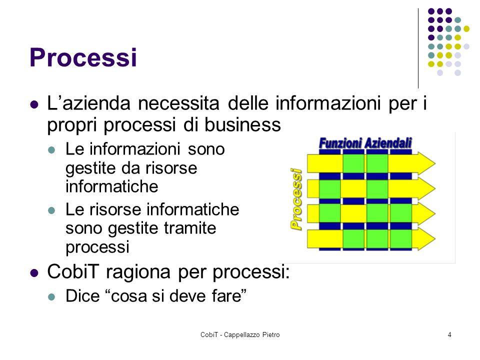 CobiT - Cappellazzo Pietro4 Processi Lazienda necessita delle informazioni per i propri processi di business Le informazioni sono gestite da risorse i