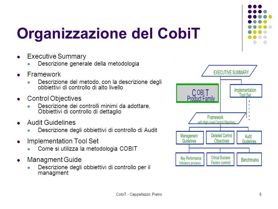 CobiT - Cappellazzo Pietro6 Organizzazione del CobiT Executive Summary Descrizione generale della metodologia Framework Descrizione del metodo, con la