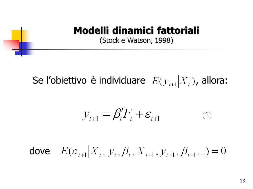 13 Modelli dinamici fattoriali (Stock e Watson, 1998) Se lobiettivo è individuare, allora: dove