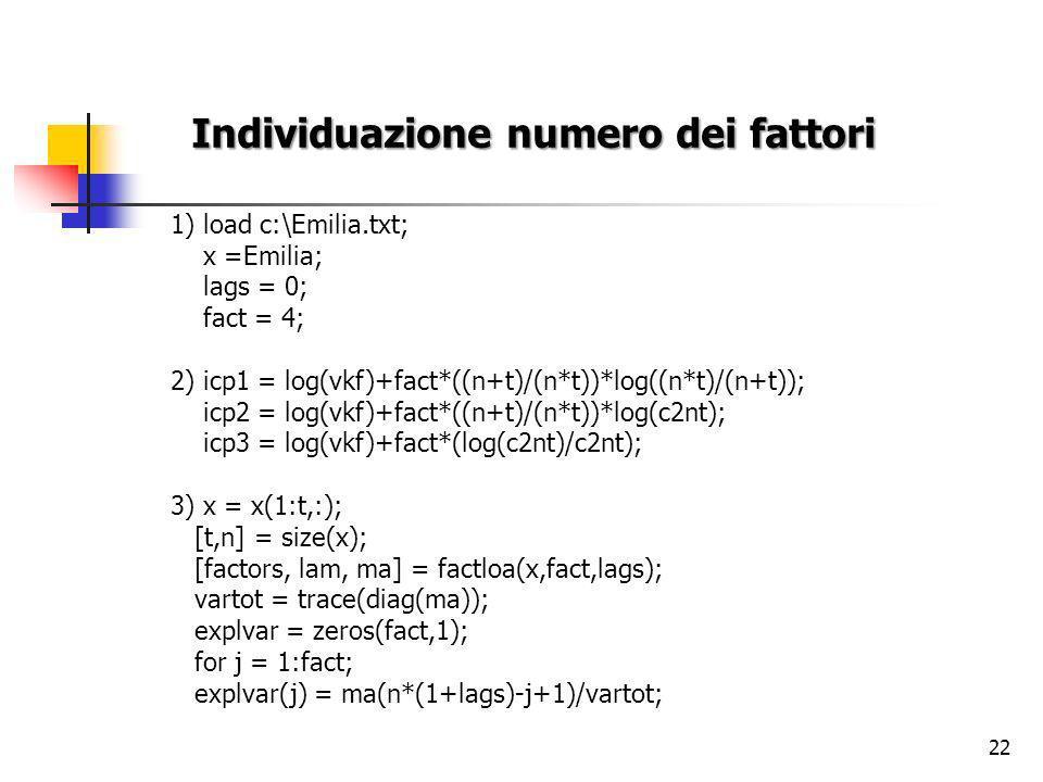 22 Individuazione numero dei fattori 1) load c:\Emilia.txt; x =Emilia; lags = 0; fact = 4; 2) icp1 = log(vkf)+fact*((n+t)/(n*t))*log((n*t)/(n+t)); icp2 = log(vkf)+fact*((n+t)/(n*t))*log(c2nt); icp3 = log(vkf)+fact*(log(c2nt)/c2nt); 3) x = x(1:t,:); [t,n] = size(x); [factors, lam, ma] = factloa(x,fact,lags); vartot = trace(diag(ma)); explvar = zeros(fact,1); for j = 1:fact; explvar(j) = ma(n*(1+lags)-j+1)/vartot;