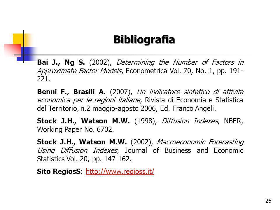 26 Bibliografia Bai J., Ng S.