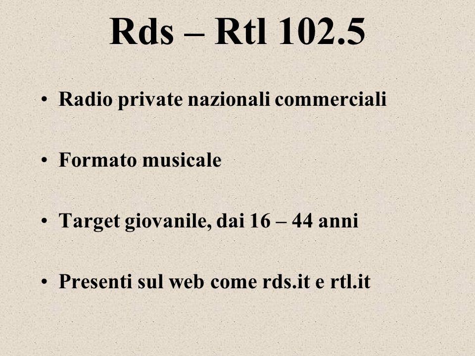 Rds – Rtl 102.5 Radio private nazionali commerciali Formato musicale Target giovanile, dai 16 – 44 anni Presenti sul web come rds.it e rtl.it