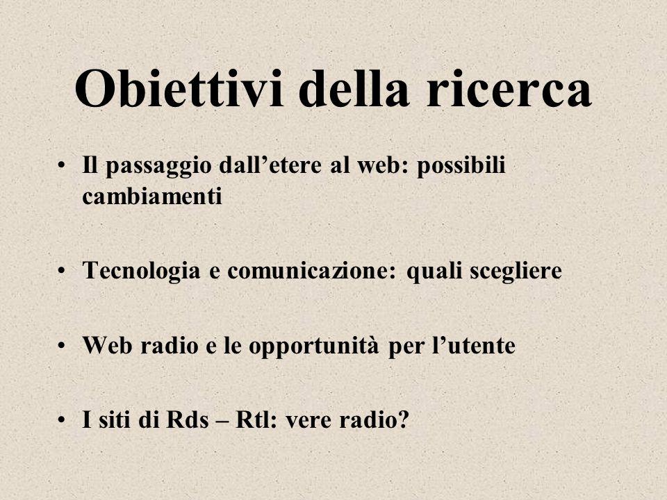 Obiettivi della ricerca Il passaggio dalletere al web: possibili cambiamenti Tecnologia e comunicazione: quali scegliere Web radio e le opportunità pe