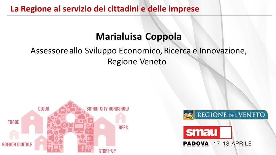 La Regione al servizio dei cittadini e delle imprese Marialuisa Coppola Assessore allo Sviluppo Economico, Ricerca e Innovazione, Regione Veneto