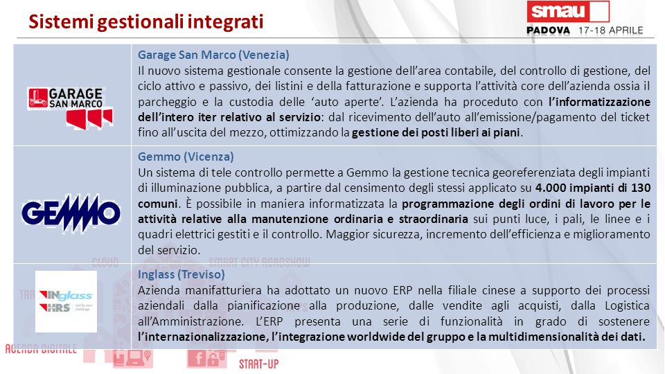 Salvagnini (Vicenza) Lattuale ERP consentirà lautomazione, lintegrazione e linterazione in tempo reale dei processi aziendali e infragruppo, garantendo una riduzione del proprio lead time e dei costi connessi alle transazioni.