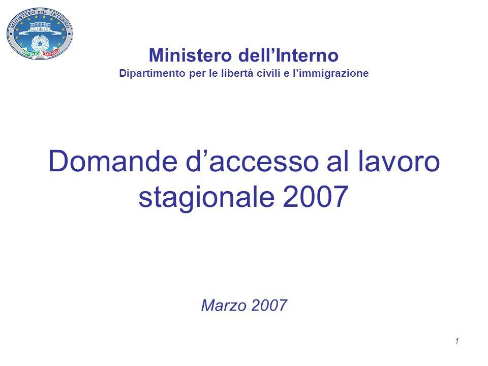 1 Domande daccesso al lavoro stagionale 2007 Marzo 2007 Ministero dellInterno Dipartimento per le libertà civili e limmigrazione