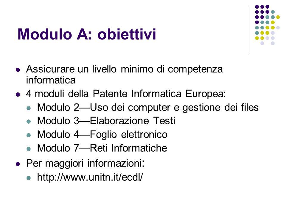 Modulo A: obiettivi Assicurare un livello minimo di competenza informatica 4 moduli della Patente Informatica Europea: Modulo 2Uso dei computer e gest