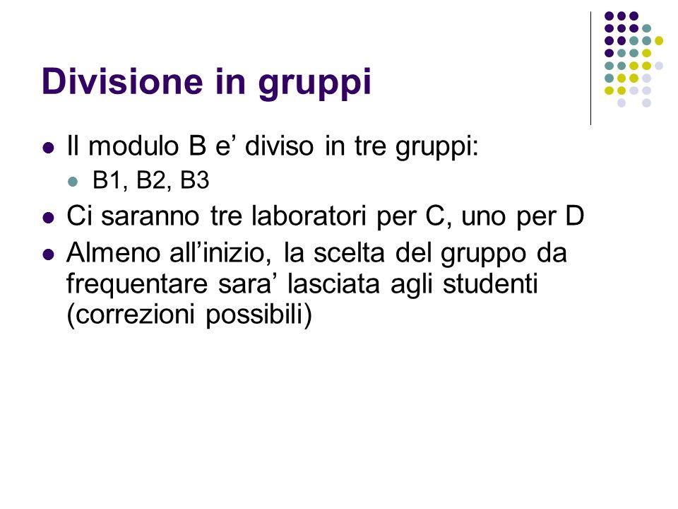 Divisione in gruppi Il modulo B e diviso in tre gruppi: B1, B2, B3 Ci saranno tre laboratori per C, uno per D Almeno allinizio, la scelta del gruppo d