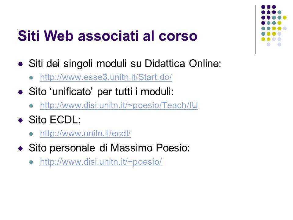Siti Web associati al corso Siti dei singoli moduli su Didattica Online: http://www.esse3.unitn.it/Start.do/ http://www.esse3.unitn.it/Start.do/ Sito
