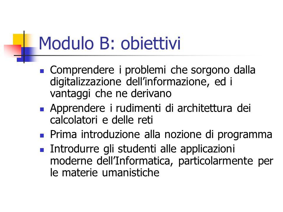 Modulo B: obiettivi Comprendere i problemi che sorgono dalla digitalizzazione dellinformazione, ed i vantaggi che ne derivano Apprendere i rudimenti d