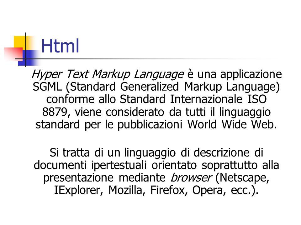 Html Hyper Text Markup Language è una applicazione SGML (Standard Generalized Markup Language) conforme allo Standard Internazionale ISO 8879, viene c
