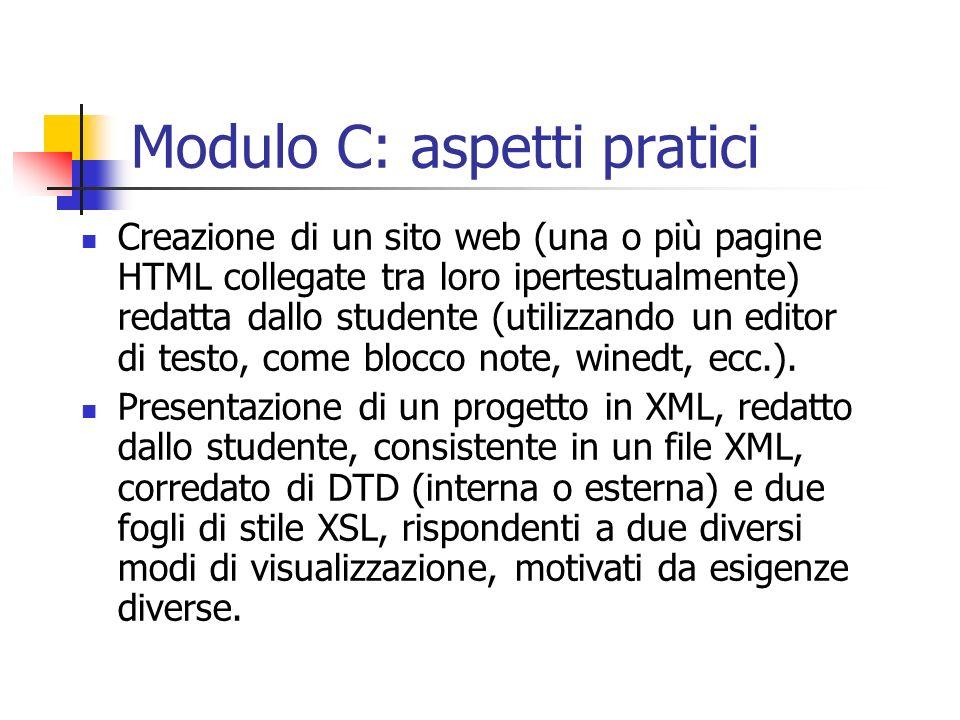 Modulo C: aspetti pratici Creazione di un sito web (una o più pagine HTML collegate tra loro ipertestualmente) redatta dallo studente (utilizzando un