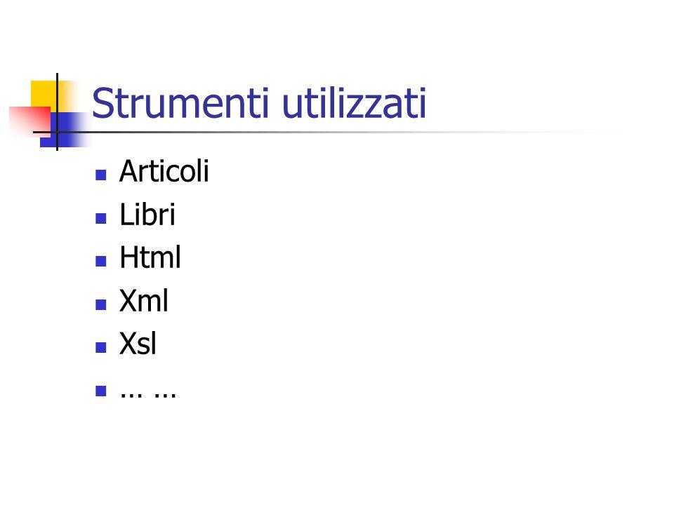 Strumenti utilizzati Articoli Libri Html Xml Xsl … …