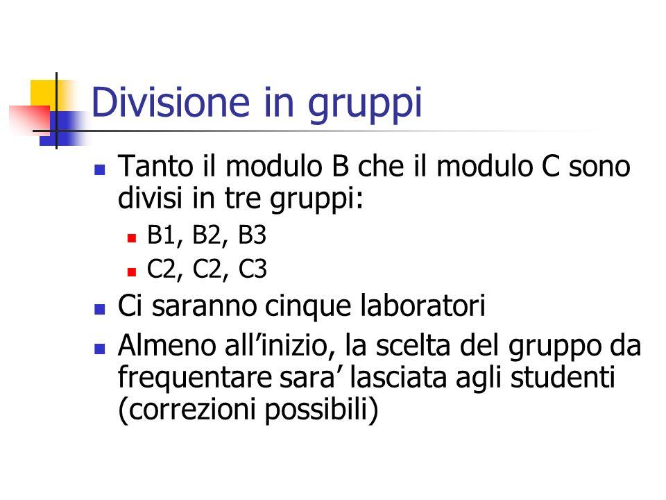 Divisione in gruppi Tanto il modulo B che il modulo C sono divisi in tre gruppi: B1, B2, B3 C2, C2, C3 Ci saranno cinque laboratori Almeno allinizio,