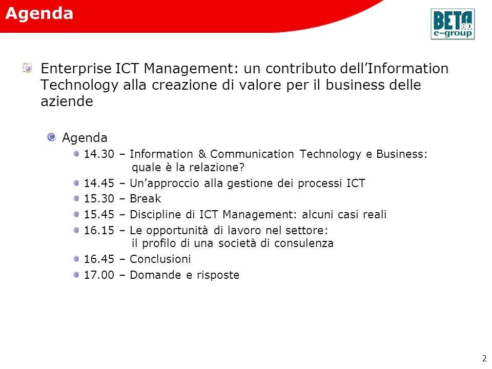 2 Enterprise ICT Management: un contributo dellInformation Technology alla creazione di valore per il business delle aziende Agenda 14.30 – Informatio