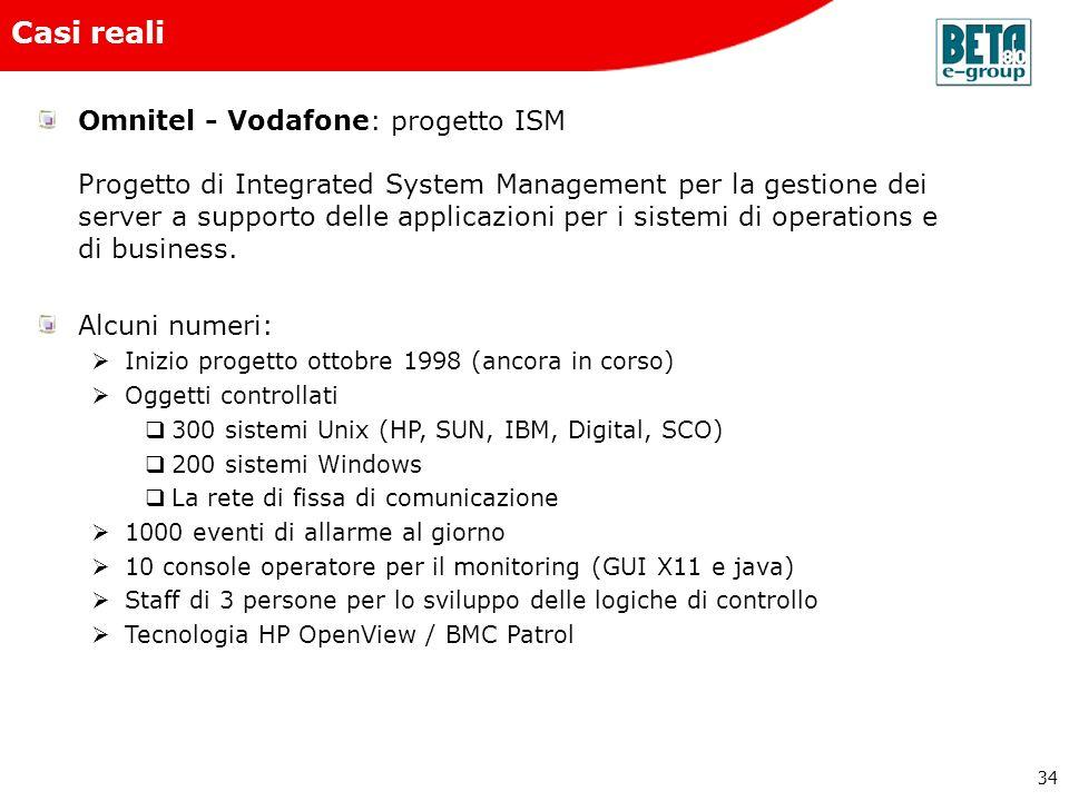 34 Casi reali Omnitel - Vodafone: progetto ISM Progetto di Integrated System Management per la gestione dei server a supporto delle applicazioni per i