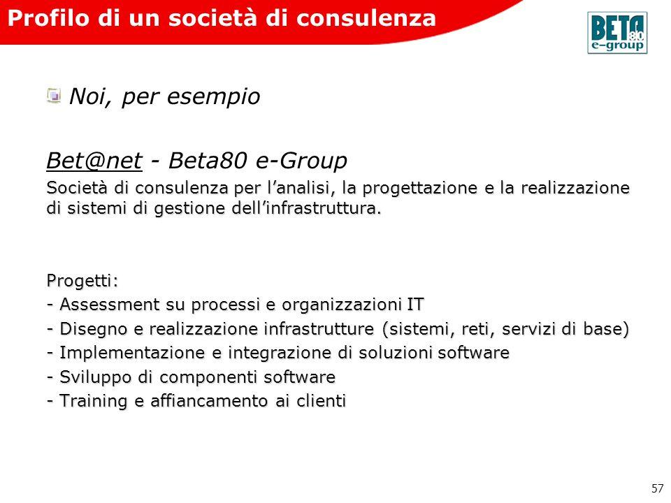 57 Profilo di un società di consulenza Noi, per esempio Bet@netBet@net - Beta80 e-Group Società di consulenza per lanalisi, la progettazione e la real