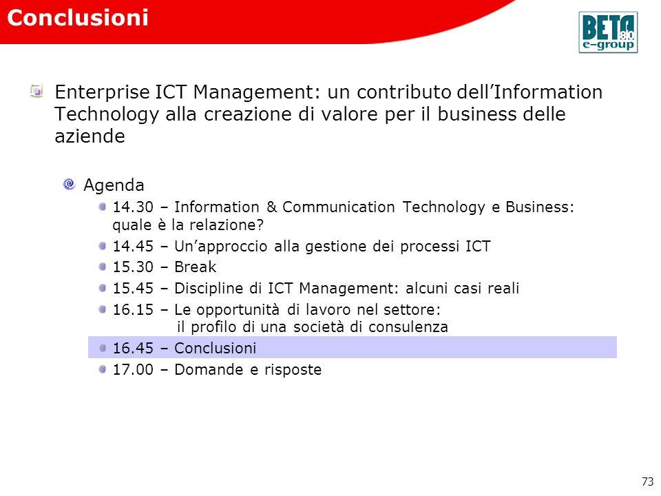 73 Enterprise ICT Management: un contributo dellInformation Technology alla creazione di valore per il business delle aziende Agenda 14.30 – Informati