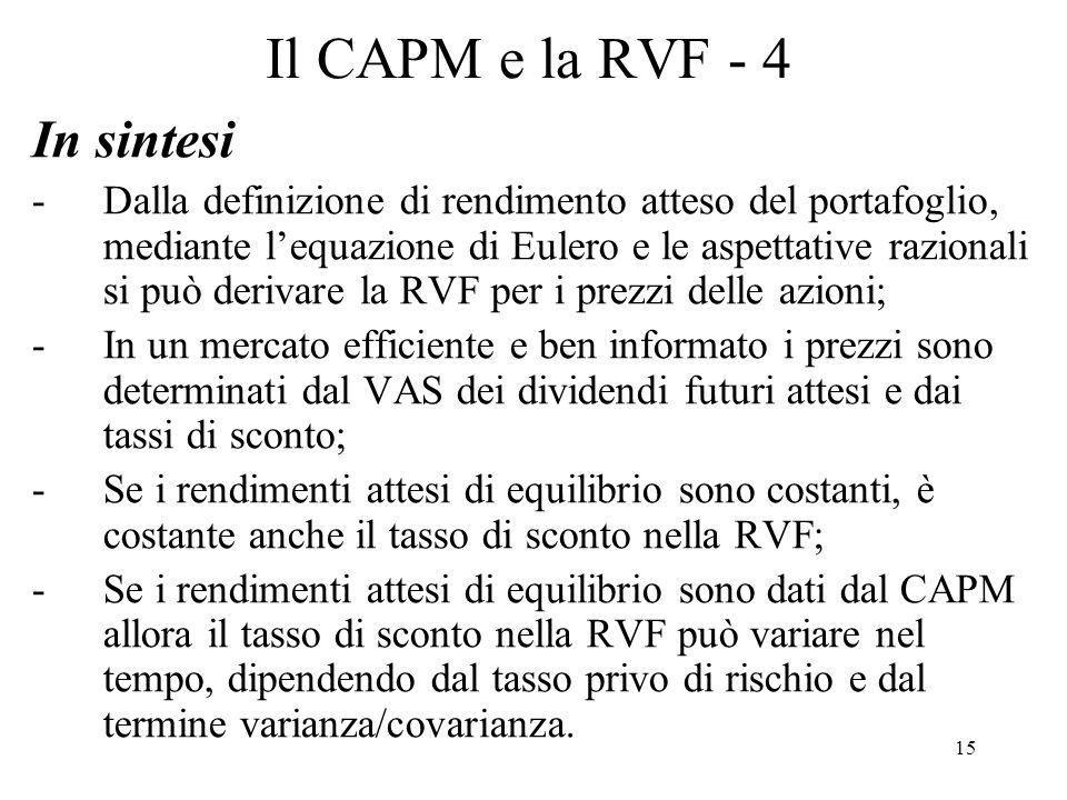 15 Il CAPM e la RVF - 4 In sintesi -Dalla definizione di rendimento atteso del portafoglio, mediante lequazione di Eulero e le aspettative razionali s