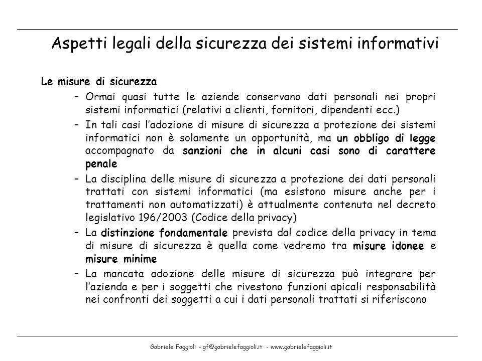 Gabriele Faggioli - gf@gabrielefaggioli.it - www.gabrielefaggioli.it Le misure di sicurezza –Ormai quasi tutte le aziende conservano dati personali ne