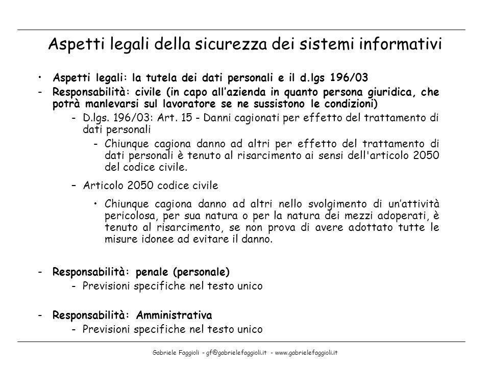 Gabriele Faggioli - gf@gabrielefaggioli.it - www.gabrielefaggioli.it Aspetti legali: la tutela dei dati personali e il d.lgs 196/03 -Responsabilità: c