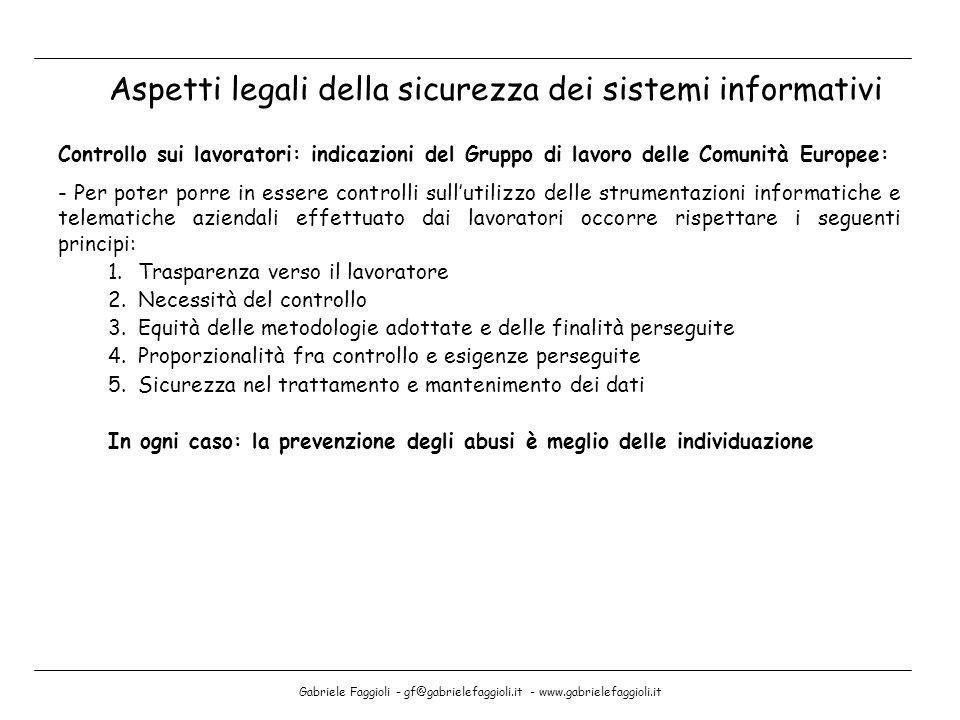 Gabriele Faggioli - gf@gabrielefaggioli.it - www.gabrielefaggioli.it Aspetti legali della sicurezza dei sistemi informativi Controllo sui lavoratori: