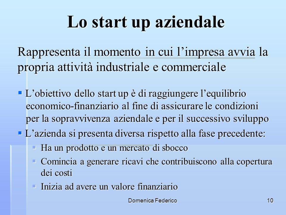 Domenica Federico10 Lo start up aziendale Rappresenta il momento in cui limpresa avvia la propria attività industriale e commerciale Lobiettivo dello