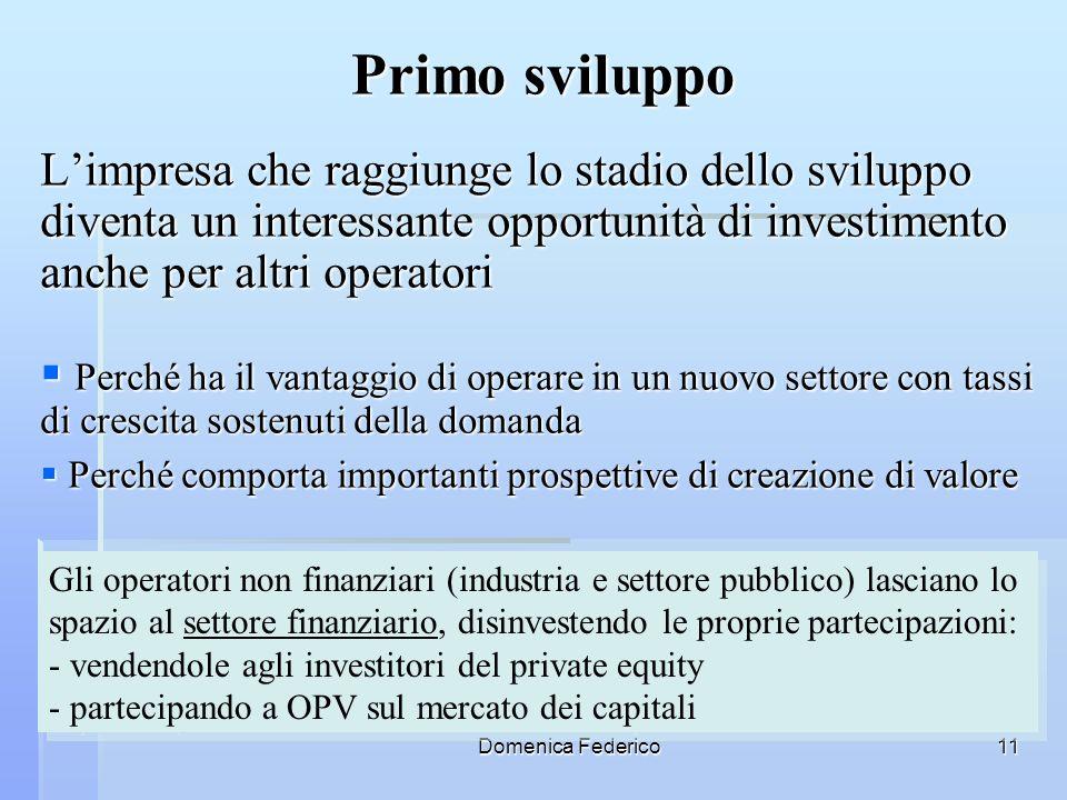 Domenica Federico11 Primo sviluppo Limpresa che raggiunge lo stadio dello sviluppo diventa un interessante opportunità di investimento anche per altri