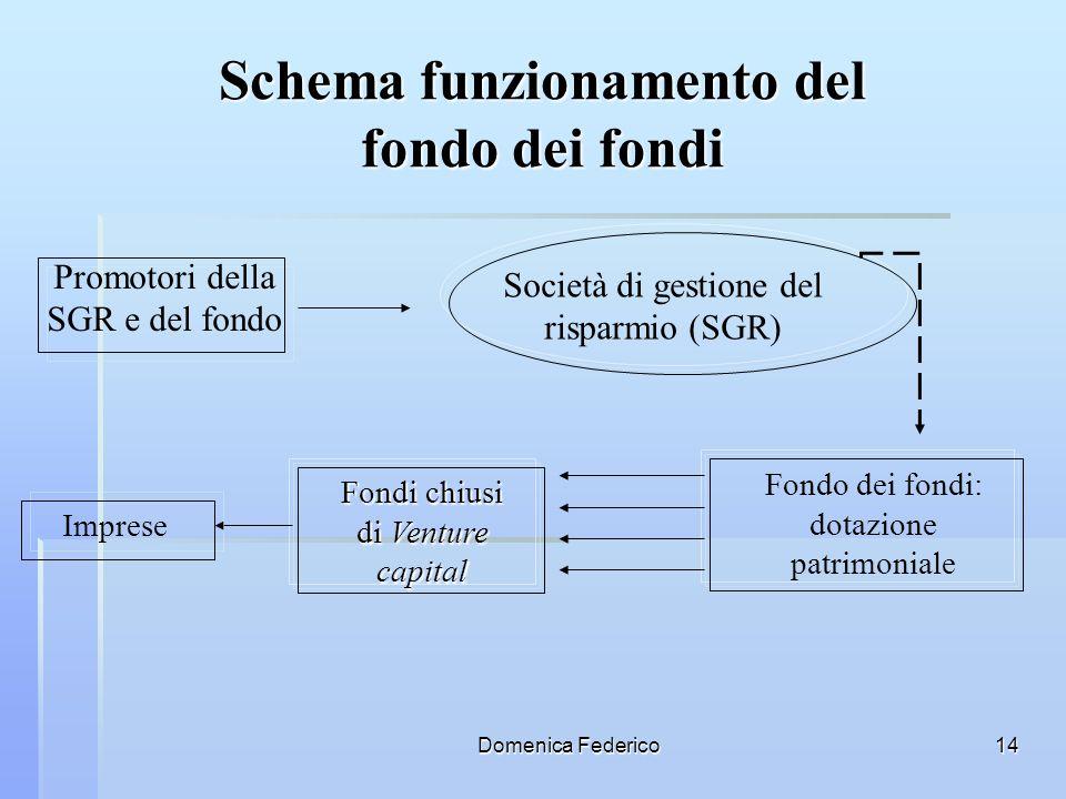 Domenica Federico14 Schema funzionamento del fondo dei fondi Promotori della SGR e del fondo Società di gestione del risparmio (SGR) Fondo dei fondi: