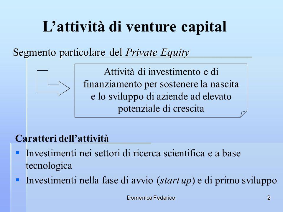 Domenica Federico13 Il fondo dei fondi Rappresenta uno dei principali e più innovativi strumenti a disposizione del sistema finanziario per ampliare la numerosità e la tipologia di operatori che investono nellattività di venture capital (banche, finanziarie dinvestimento, fondi pensione) Missione Investire in fondi chiusi di Venture Capital