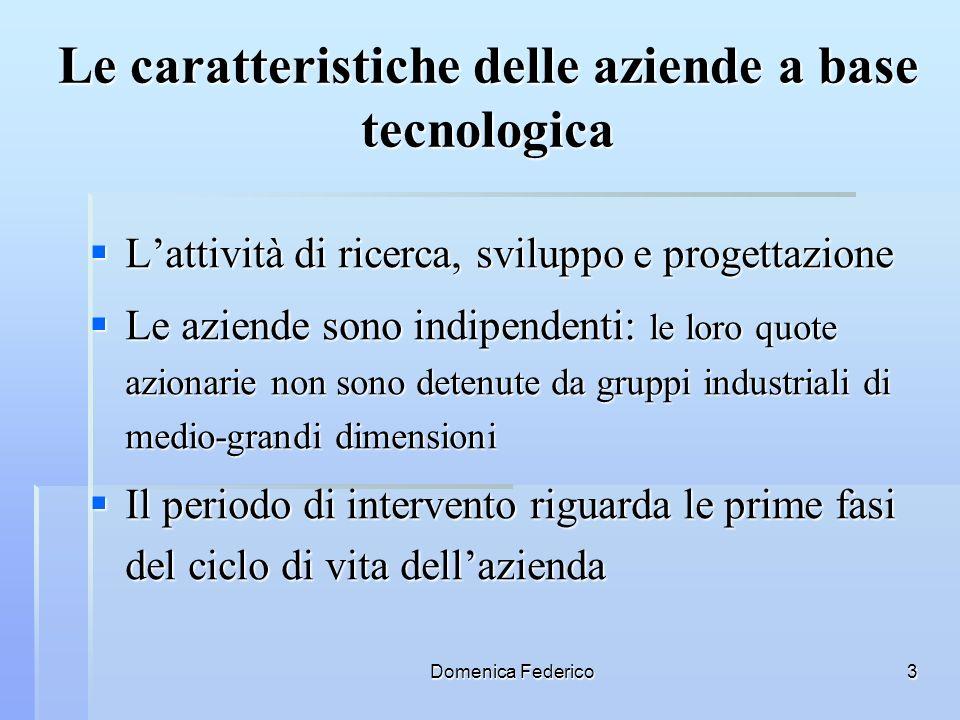 Domenica Federico3 Le caratteristiche delle aziende a base tecnologica Lattività di ricerca, sviluppo e progettazione Lattività di ricerca, sviluppo e