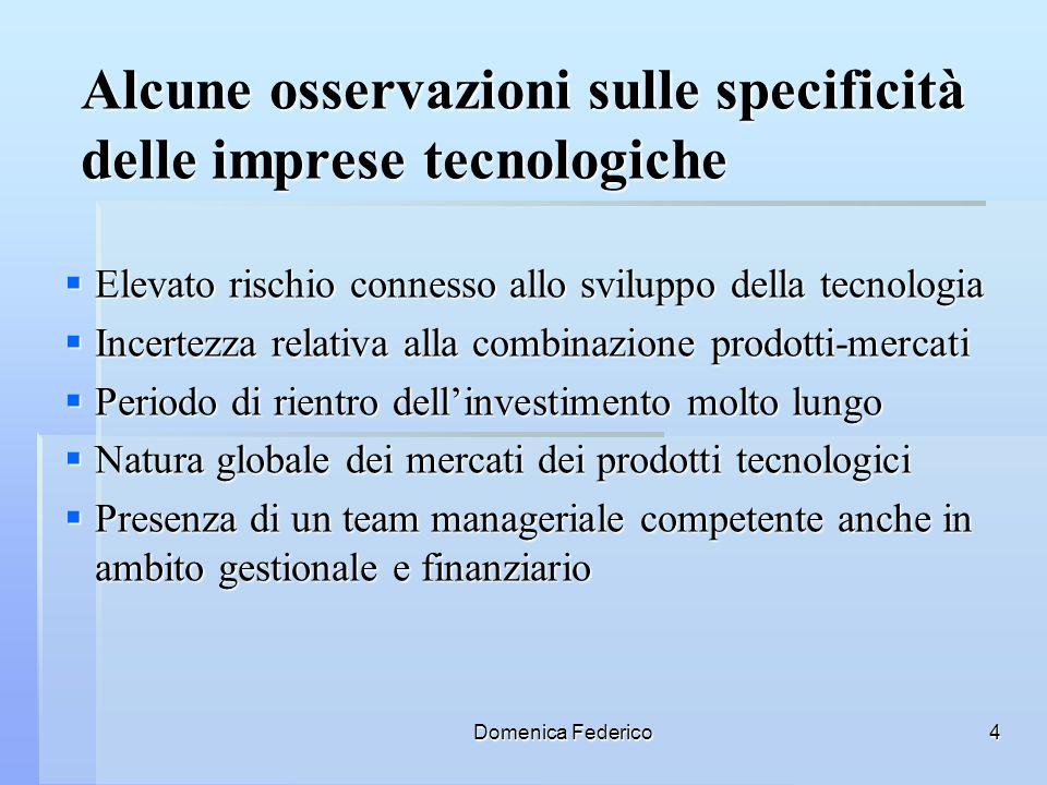 Domenica Federico4 Alcune osservazioni sulle specificità delle imprese tecnologiche Elevato rischio connesso allo sviluppo della tecnologia Elevato ri
