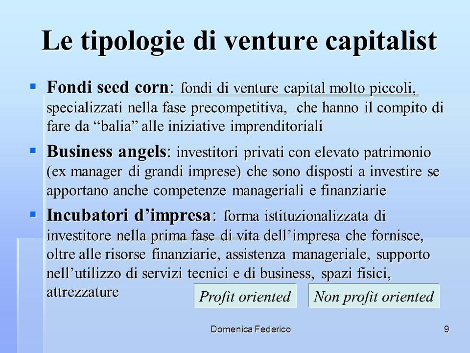 Domenica Federico9 Le tipologie di venture capitalist Fondi seed corn: fondi di venture capital molto piccoli, specializzati nella fase precompetitiva