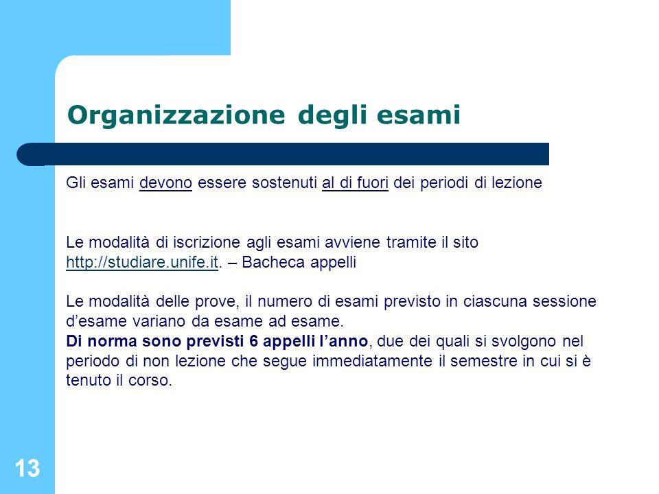 13 Organizzazione degli esami Gli esami devono essere sostenuti al di fuori dei periodi di lezione Le modalità di iscrizione agli esami avviene tramit