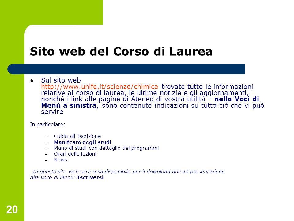 20 Sito web del Corso di Laurea Sul sito web http://www.unife.it/scienze/chimica trovate tutte le informazioni relative al corso di laurea, le ultime