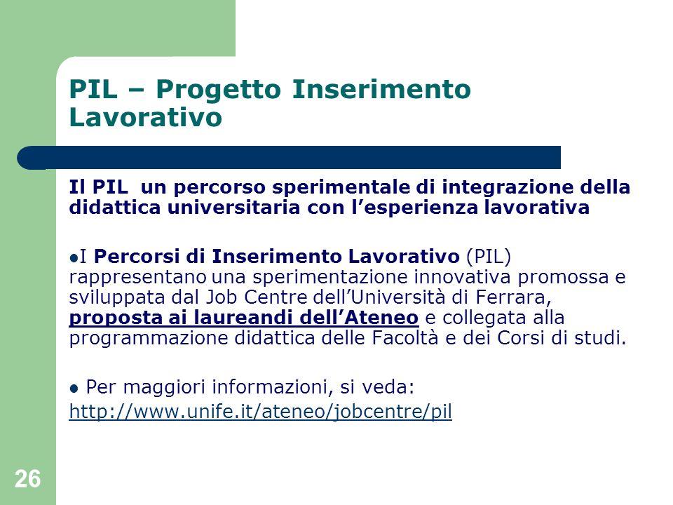 26 PIL – Progetto Inserimento Lavorativo Il PIL un percorso sperimentale di integrazione della didattica universitaria con lesperienza lavorativa I Pe