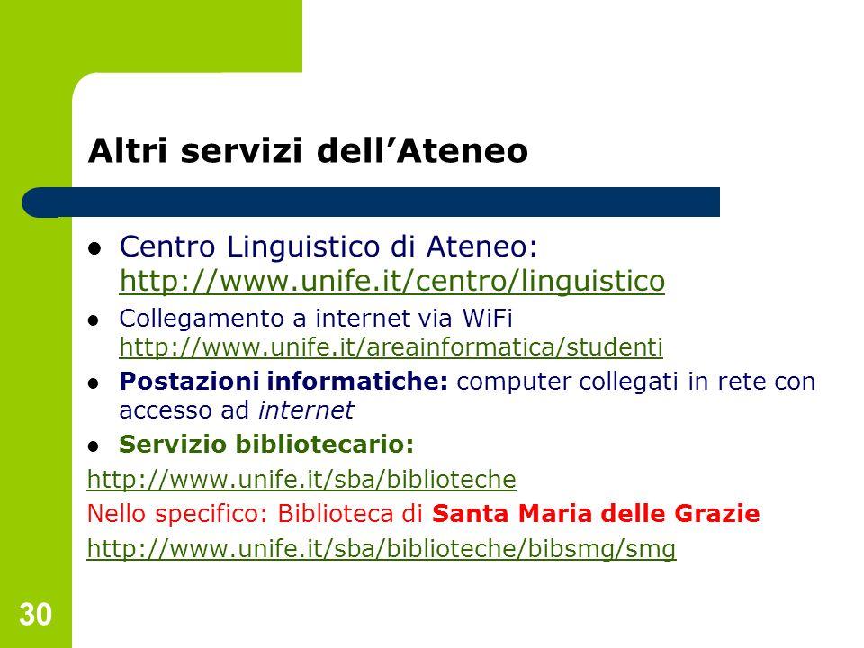 30 Altri servizi dellAteneo Centro Linguistico di Ateneo: http://www.unife.it/centro/linguistico http://www.unife.it/centro/linguistico Collegamento a