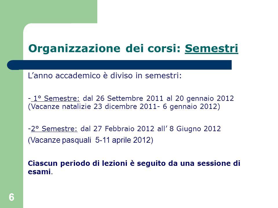 66 Organizzazione dei corsi: Semestri Lanno accademico è diviso in semestri: - 1° Semestre: dal 26 Settembre 2011 al 20 gennaio 2012 (Vacanze natalizi