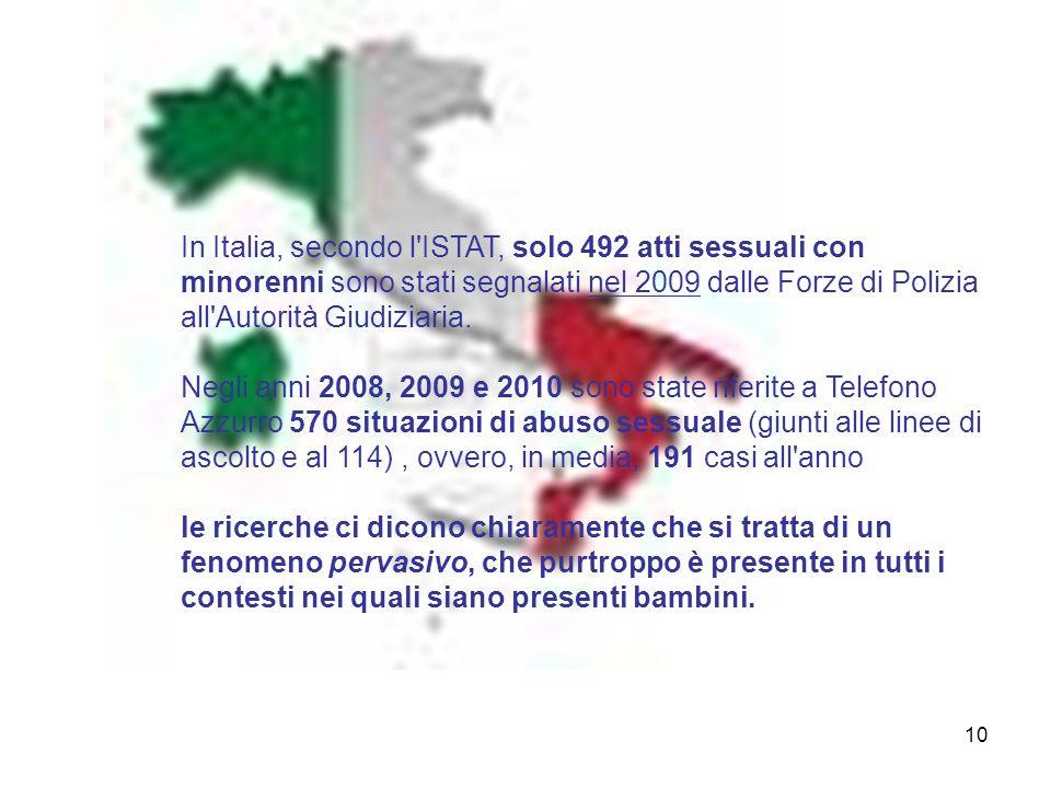 10 In Italia, secondo l'ISTAT, solo 492 atti sessuali con minorenni sono stati segnalati nel 2009 dalle Forze di Polizia all'Autorità Giudiziaria. Neg