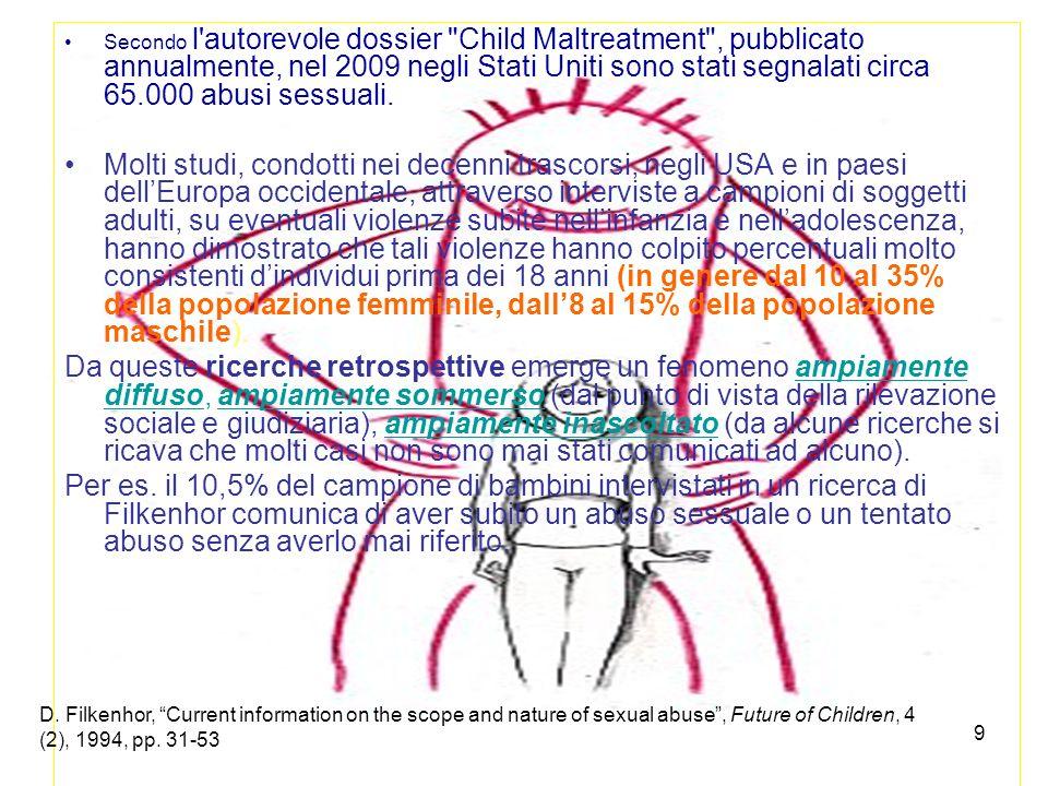 10 In Italia, secondo l ISTAT, solo 492 atti sessuali con minorenni sono stati segnalati nel 2009 dalle Forze di Polizia all Autorità Giudiziaria.