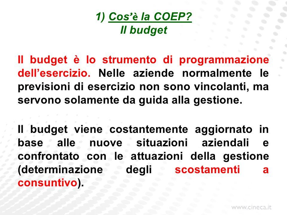 www.cineca.it 1) Cos è la COEP? Il budget Il budget è lo strumento di programmazione dellesercizio. Nelle aziende normalmente le previsioni di eserciz