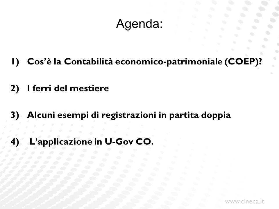 www.cineca.it 1) Cosè la Contabilità economico-patrimoniale (COEP)? 2) I ferri del mestiere 3) Alcuni esempi di registrazioni in partita doppia 4) Lap
