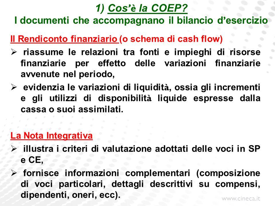www.cineca.it 1) Cos è la COEP? I documenti che accompagnano il bilancio d esercizio Il Rendiconto finanziario (o schema di cash flow) riassume le rel