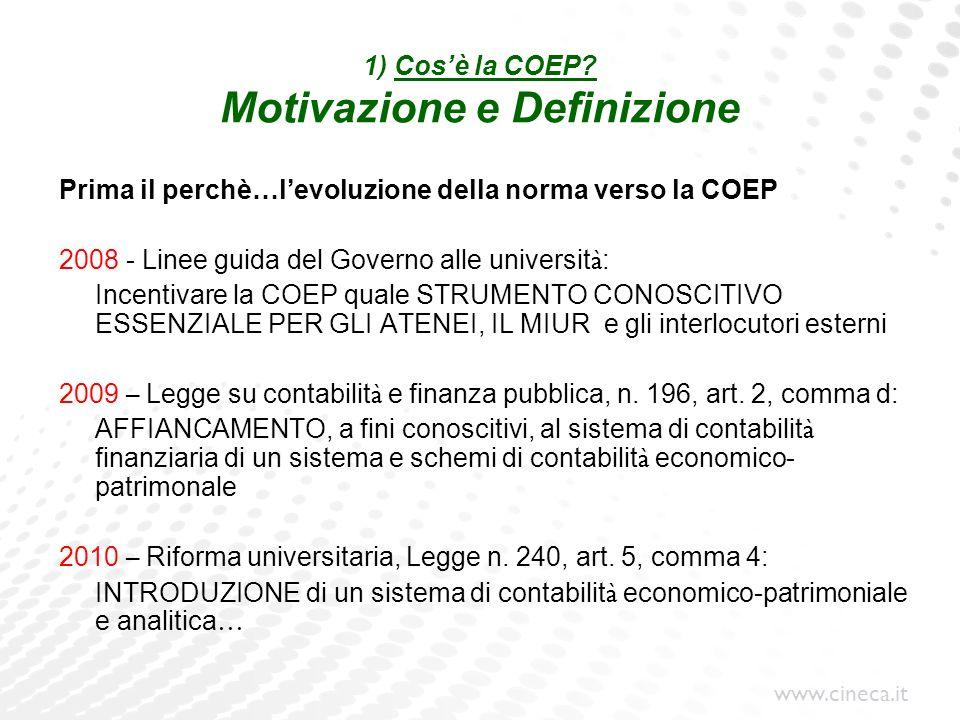 www.cineca.it 1) Cosè la COEP? Motivazione e Definizione Prima il perchè…levoluzione della norma verso la COEP 2008 - Linee guida del Governo alle uni